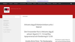 Earlier screenshot of a-arkiv.se