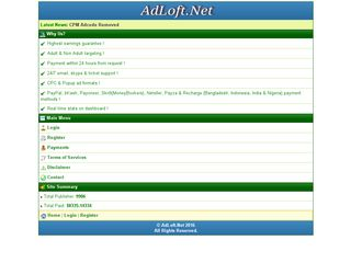 Earlier screenshot of adloft.net