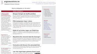 Earlier screenshot of argumentera.se