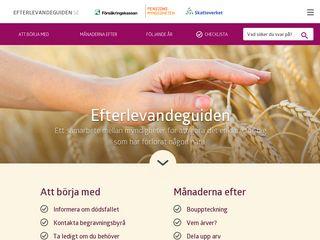 Earlier screenshot of efterlevandeguiden.se