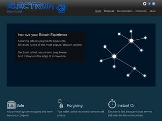 Earlier screenshot of electrum.org