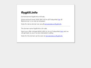 Earlier screenshot of flygtill.info