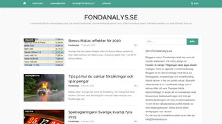 Earlier screenshot of fondanalys.se