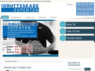 Earlier screenshot of idrottsskadeexperten.se