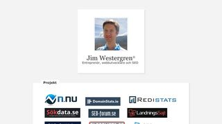Earlier screenshot of jimwestergren.se