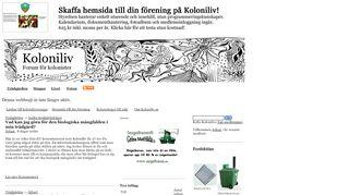 Earlier screenshot of koloniliv.se