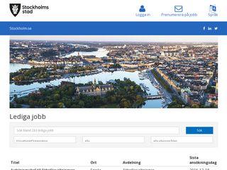 Earlier screenshot of ledigajobb.stockholm.se