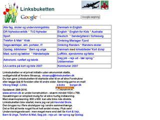 Earlier screenshot of linksbuketten.dk