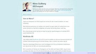 Earlier screenshot of mansgullberg.com