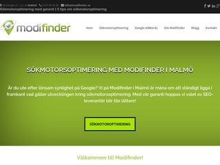 Earlier screenshot of modifinder.se