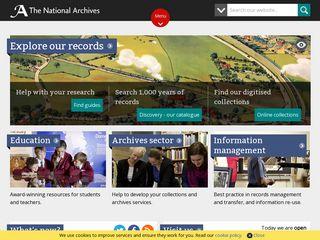 Earlier screenshot of nationalarchives.gov.uk