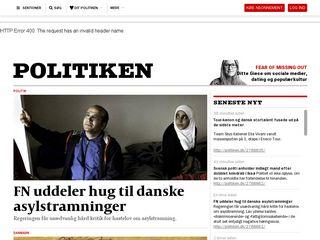 Earlier screenshot of politiken.dk