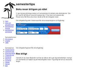Earlier screenshot of semestertips.se