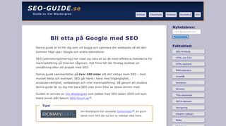 Earlier screenshot of seo-guide.se