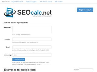 Earlier screenshot of seocalc.net