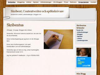 Earlier screenshot of skribentus.se