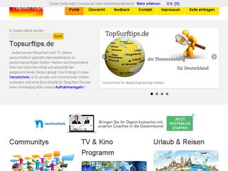 Earlier screenshot of topsurftips.de