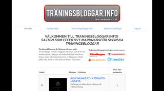 Earlier screenshot of traningsbloggar.info