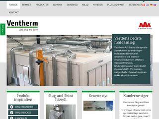 Earlier screenshot of ventherm.dk