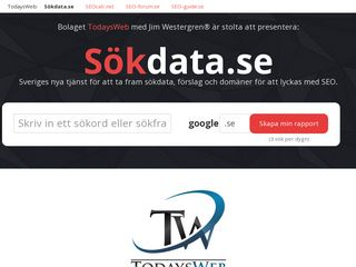 Earlier screenshot of sökdata.se