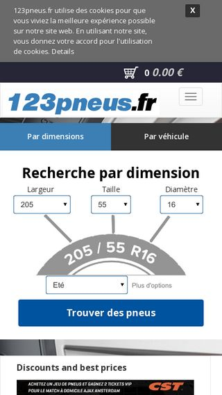 Mobile preview of 123pneus.fr