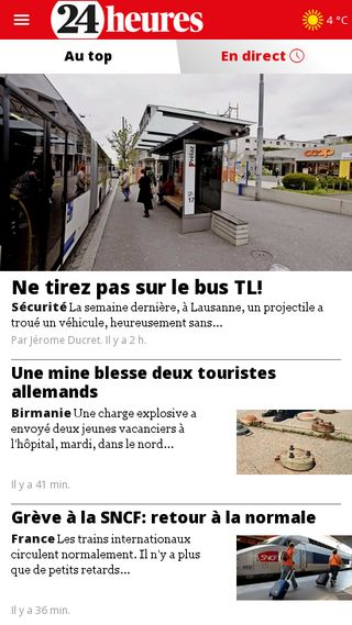 Mobile preview of 24heures.ch