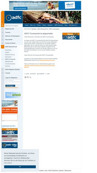 Mobile preview of adfc-tourenportal.de