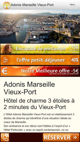Mobile preview of adonis-hotel-vieuxport.com