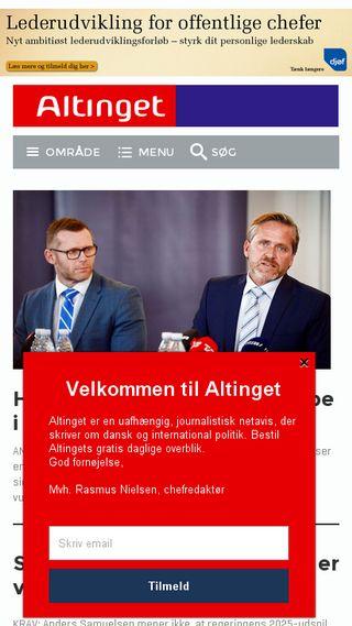 Mobile preview of altinget.dk