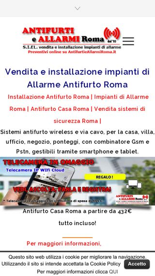 Mobile preview of antifurtieallarmiroma.it
