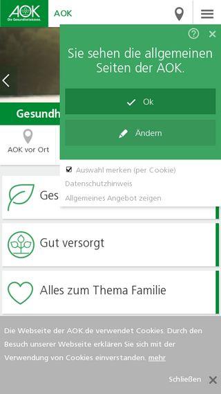 Mobile preview of aok.de