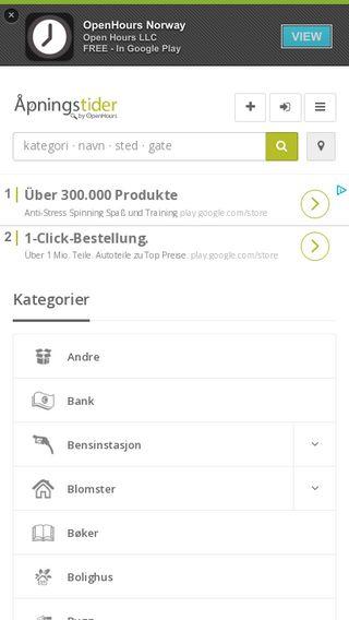 Mobile preview of apningstider.com
