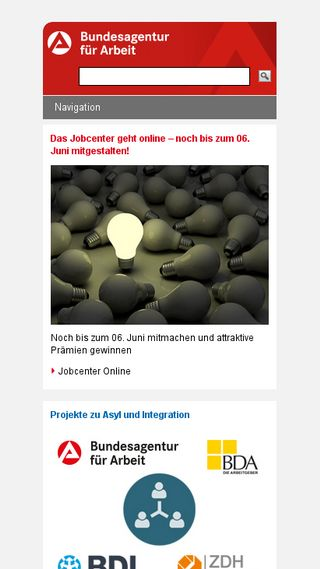 Mobile preview of arbeitsagentur.de