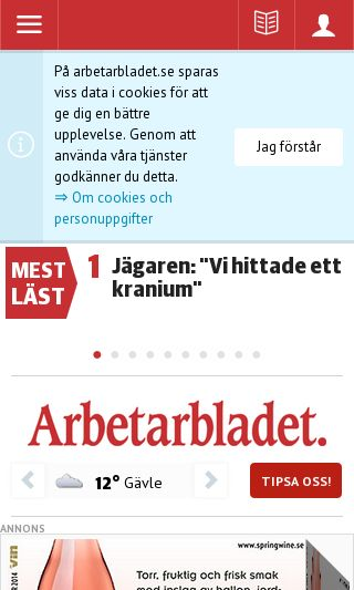 Mobile preview of arbetarbladet.se