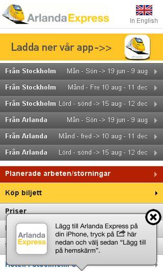 Mobile preview of arlandaexpress.se
