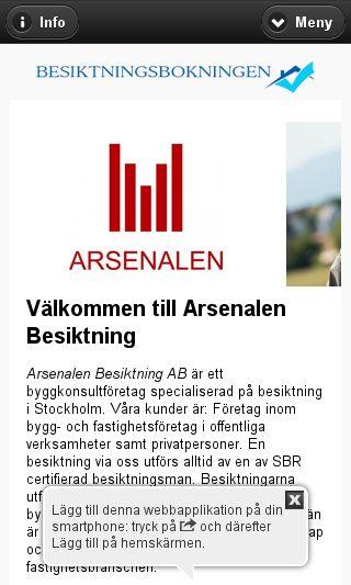 Mobile preview of arsenalenbesiktning.se