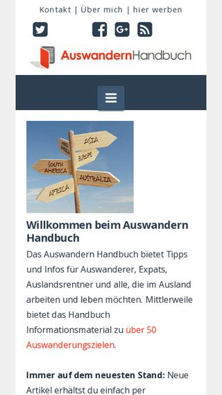 Mobile preview of auswandern-handbuch.de