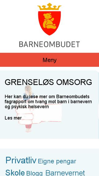 Mobile preview of barneombudet.no