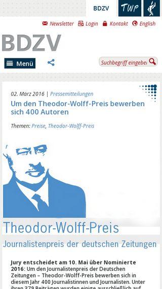 Mobile preview of bdzv.de
