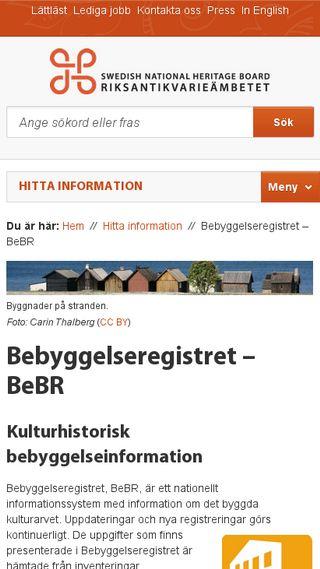 Mobile preview of bebyggelseregistret.raa.se