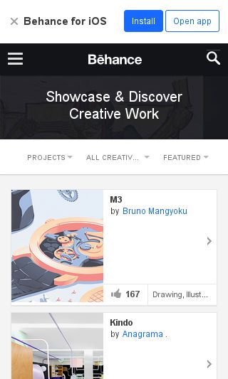 Mobile preview of behance.net