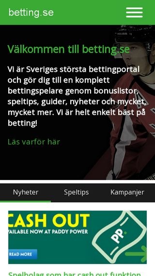 Mobile preview of betting.se