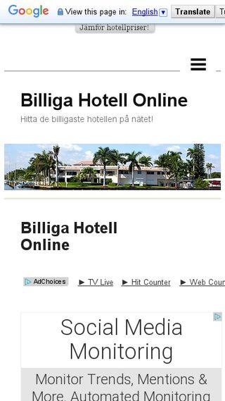 Mobile preview of billigahotellonline.n.nu