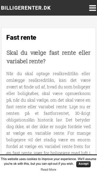 Mobile preview of billigerenter.dk