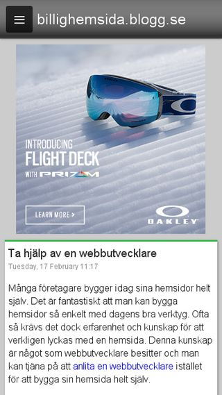 Mobile preview of billighemsida.blogg.se