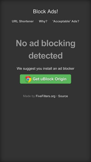 Mobile preview of blockads.fivefilters.org