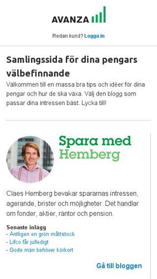 Mobile preview of blogg.avanza.se