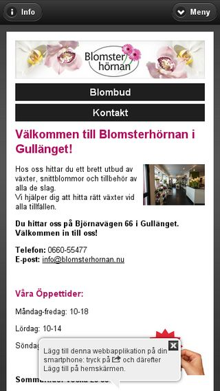 Mobile preview of blomsterhornan.nu