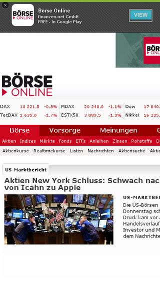 Mobile preview of boerse-online.de