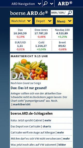Mobile preview of boerse.ard.de